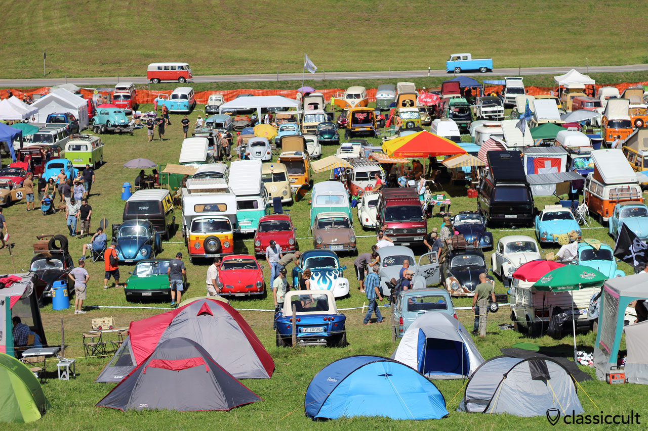 see the T1 Kombi and T2 Doka in the background, Chateau d Oex VW Meeting 2015, great
