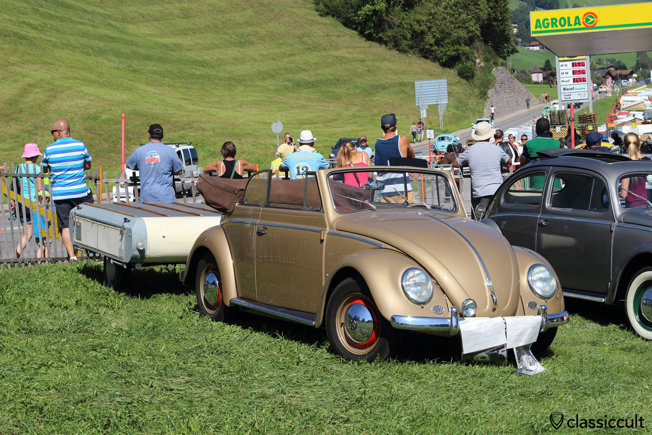 classic VW Convertible with trailer