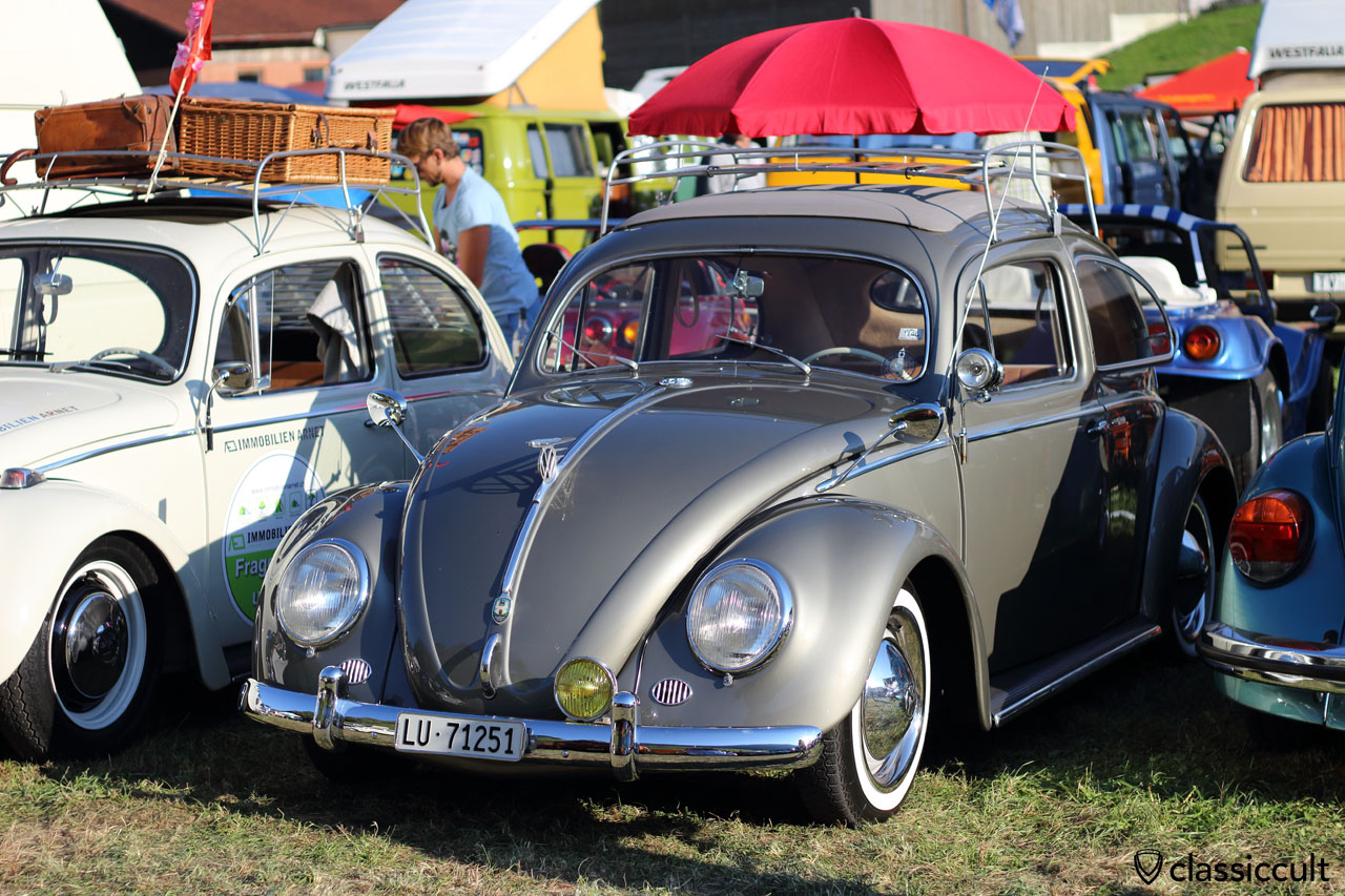 VW Oval Ragtop with Hella search light mirror