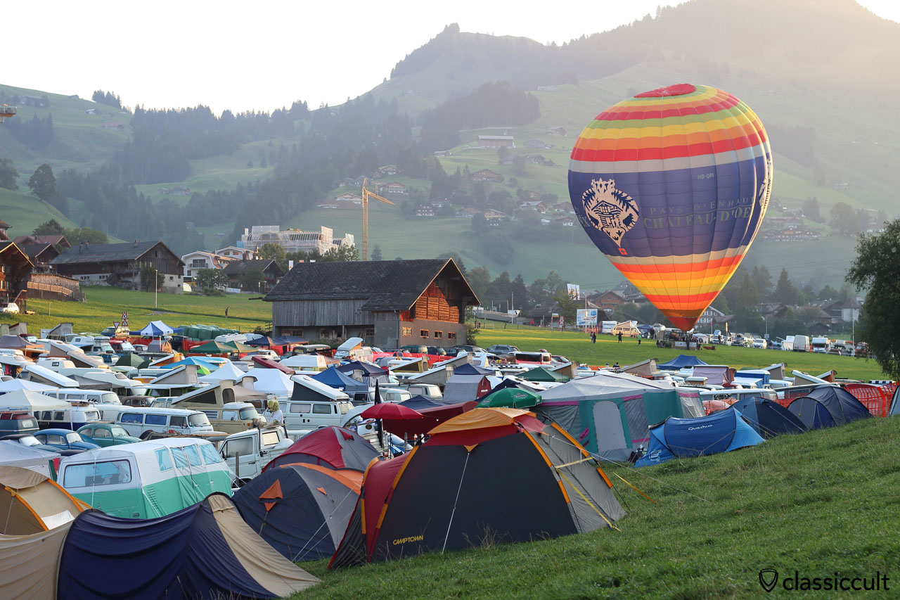 hot air balloon, Château-d'Oex VW Meeting 2015