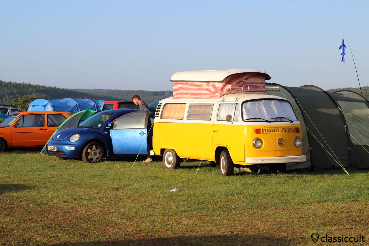 yellow T2b Camper and New Beetle