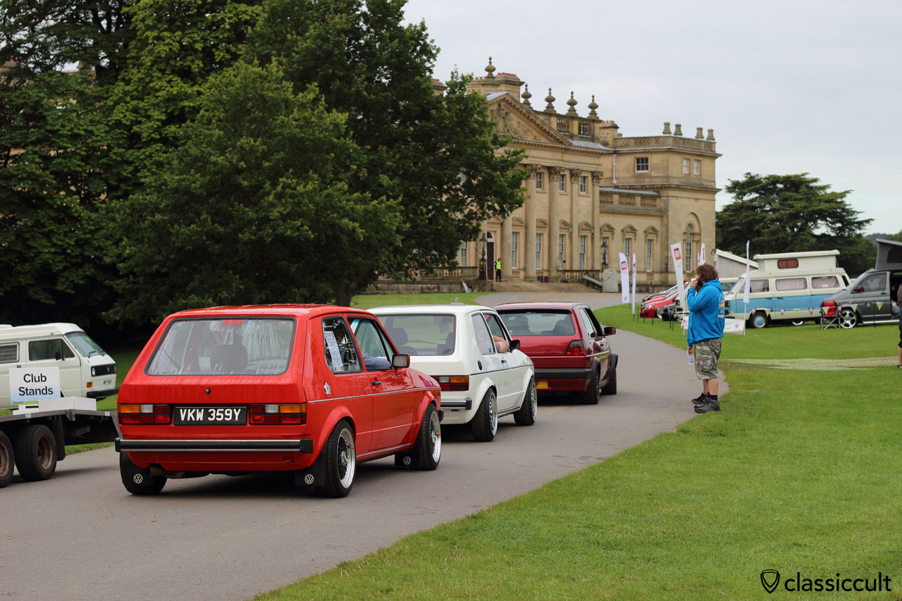 Golf MK1 on the way to Harewood House Show and Shine area, VW Festival 2015, 7:53 a.m.