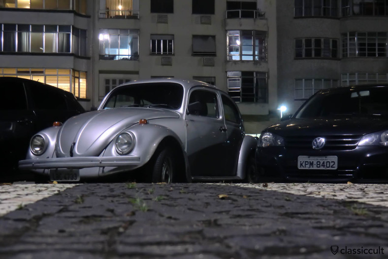 VW Fusca at night, Copacabana, Brazil, May 23, 2013