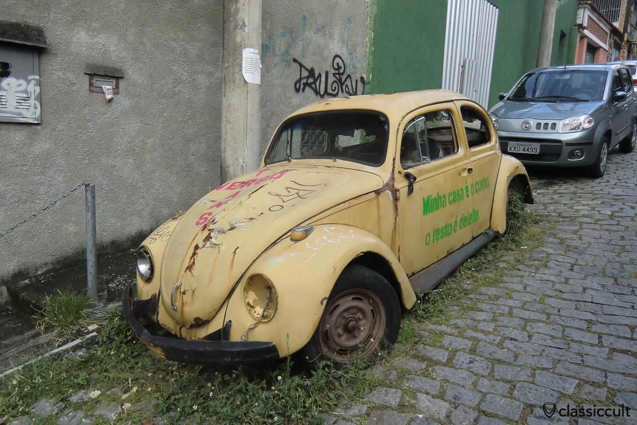 VW Fusca rusting in Santa Teresa, Rio, Brazil, May 23, 2013