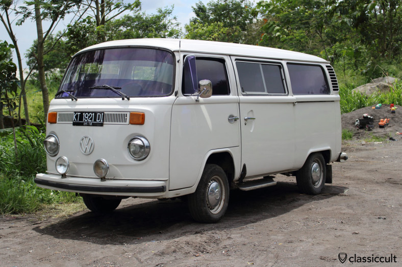 VW Kombi Bus with fog lights at Gunung Merapi, Java, Indonesia, February 9, 2014