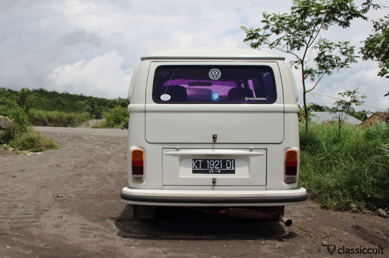 VW Kombi Bus rear side at Gunung Merapi, Java, Indonesia, February 9, 2014