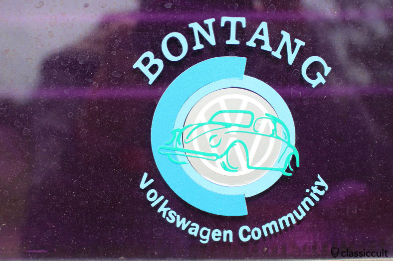 BONTANG Volkswagen Community sticker at VW Kombi Bus, Gunung Merapi, Java, Indonesia, February 9, 2014