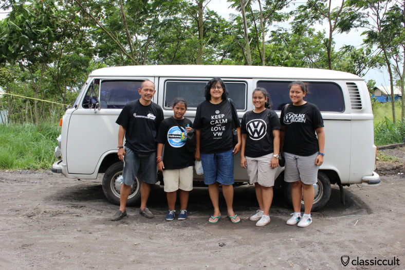 Indonesian family with their VW Kombi Bus on a weekend trip at Gunung Merapi, Java, Indonesia, February 9, 2014