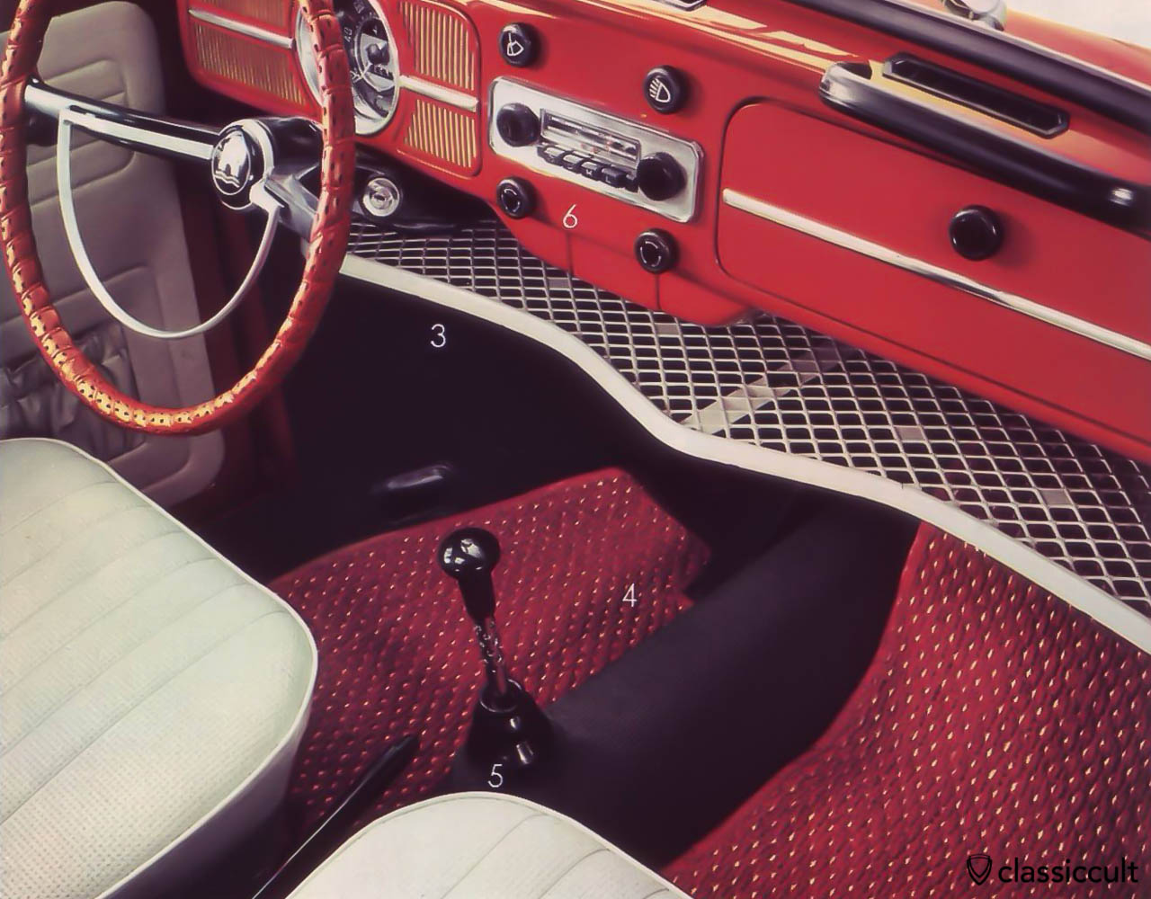 KAMEI solid plastic mesh parcel tray in VW Bug 1968