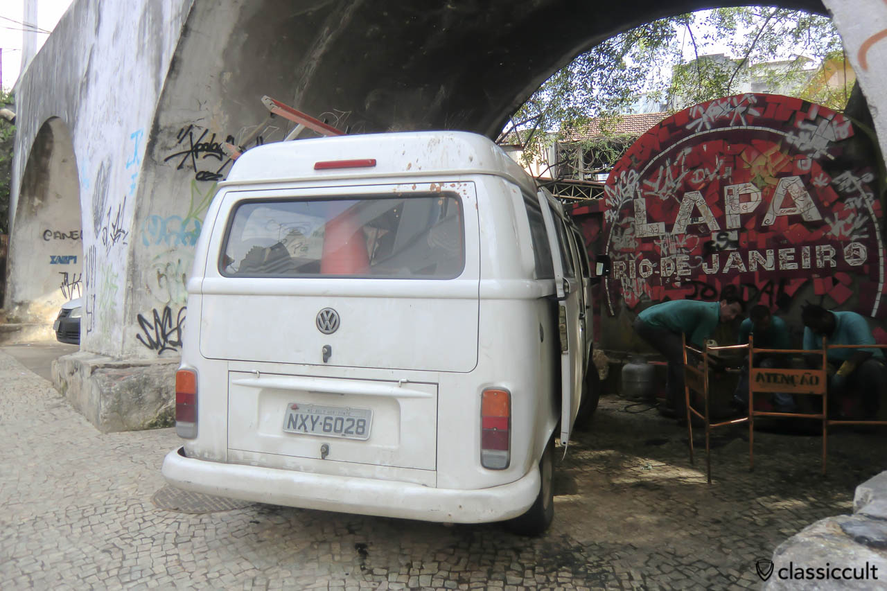 VW Kombi Bay Bus parking at Carioca Aqueduct, Rio, Brazil, May 23, 2013