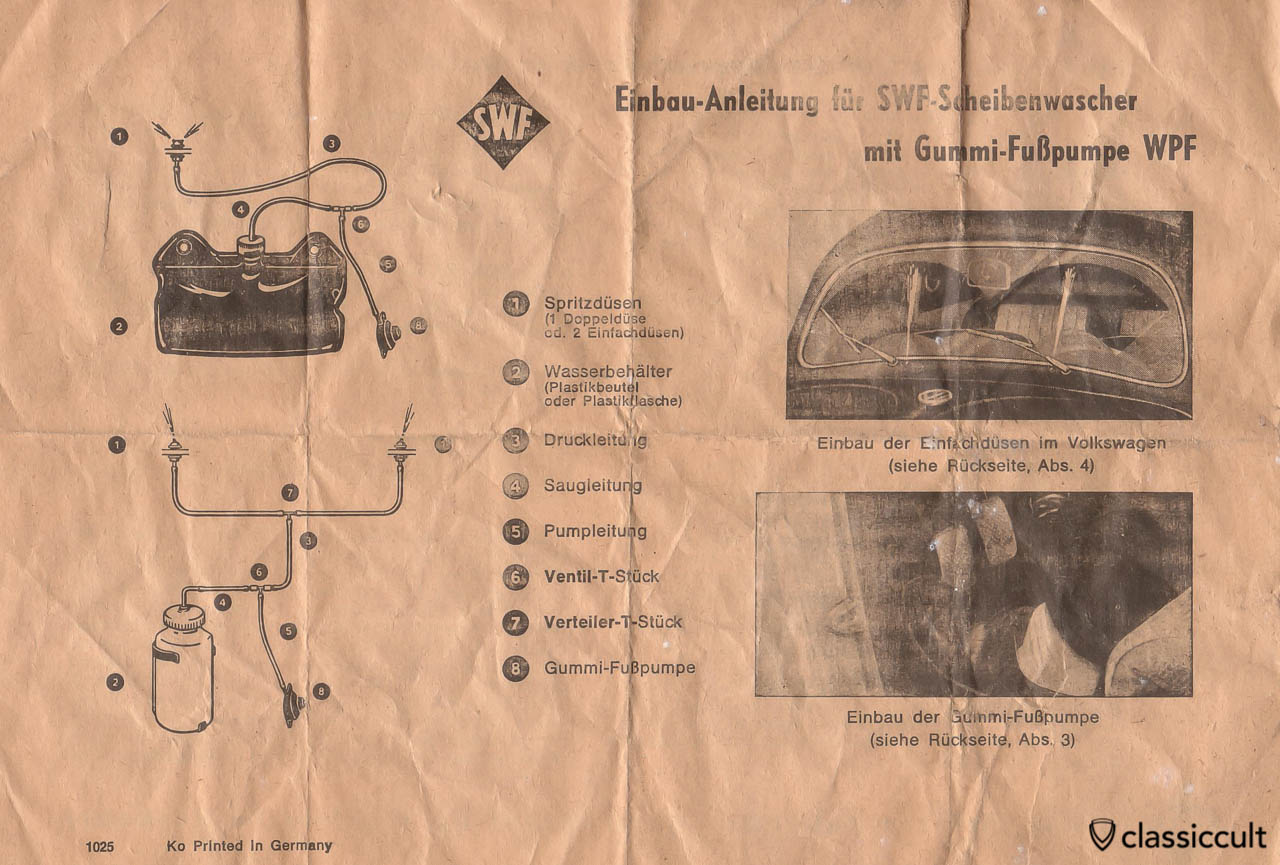 VW Oval Bug SWF windshield washer brochure