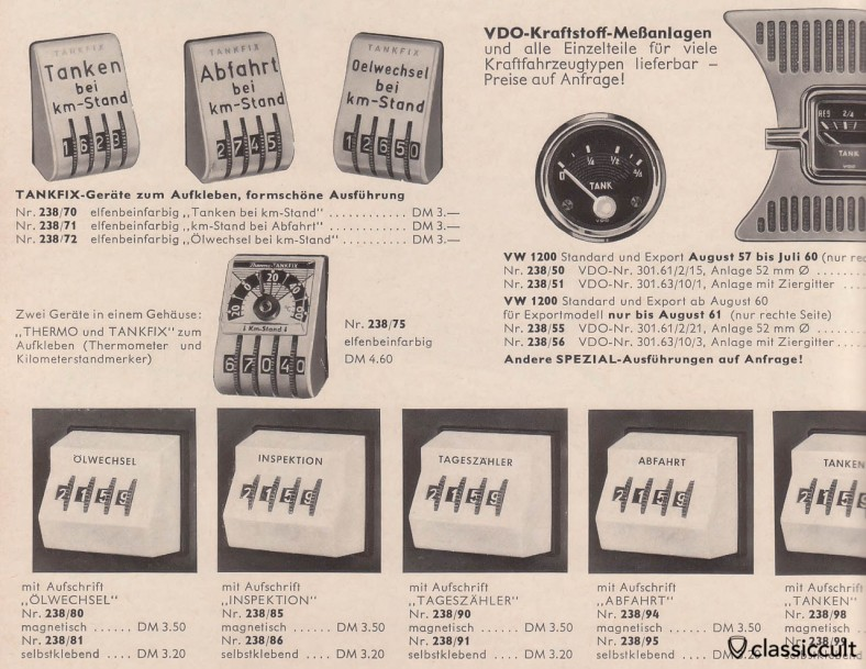 Vintage VW dash mileage counter source: