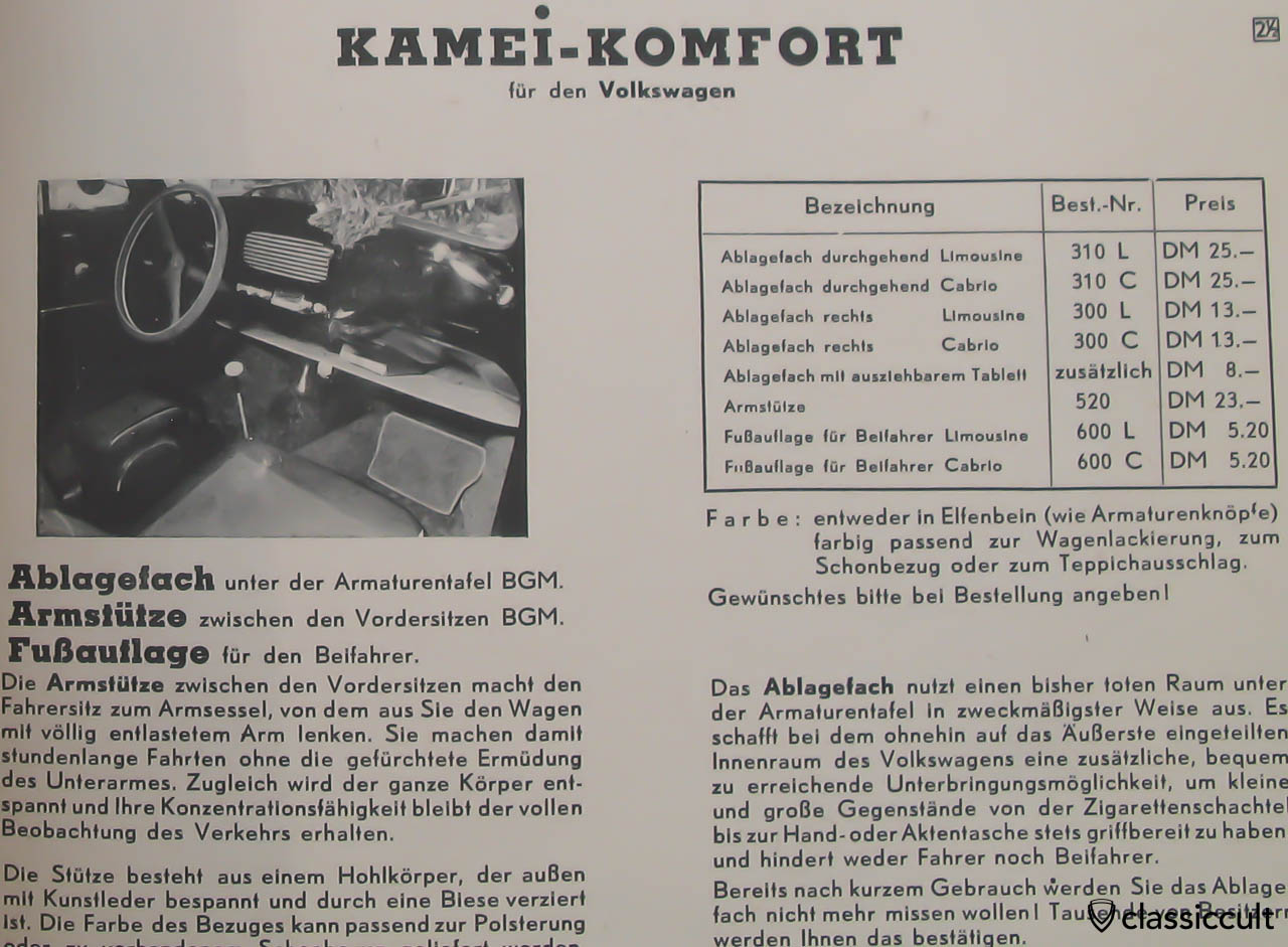 Kamei Komfort parcel tray in VW Oval 1955