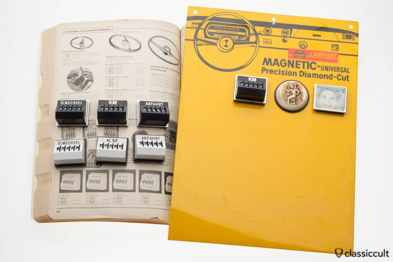 An old point of sale display. The cool display is made of metal, so the store owner could put new magnetic miles counters easily.