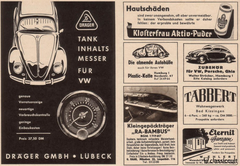 Ra-Bambus parcel tray in VW Oval 1957 / source: Gute Fahrt Magazine 8/1958, Page 38