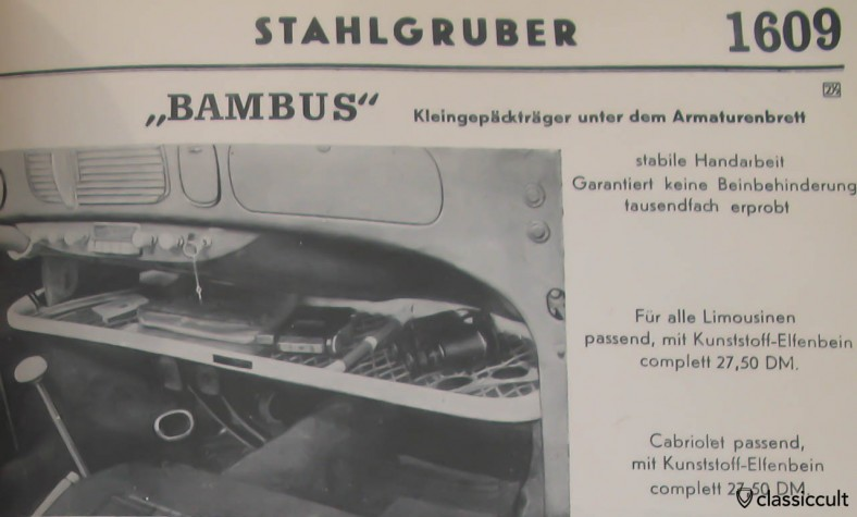 Ra-Bambus parcel tray in VW Oval 1955 / source: Stahlgruber Catalog 1955, Page 1609