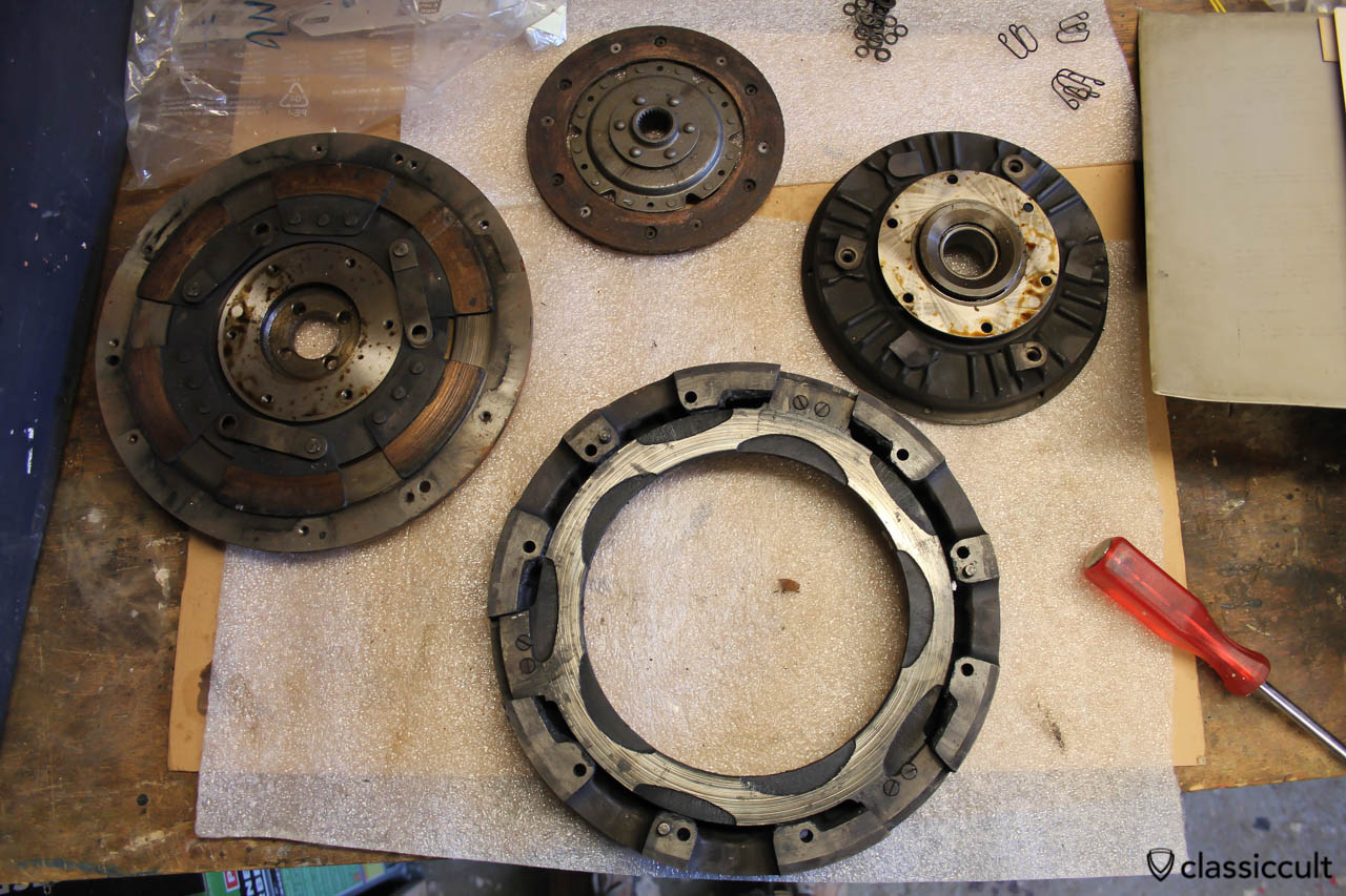VW Saxomat Clutch spare part details, flywheel, centrifugal-disc, roller-house, free wheel with drive-house and clutch disc.
