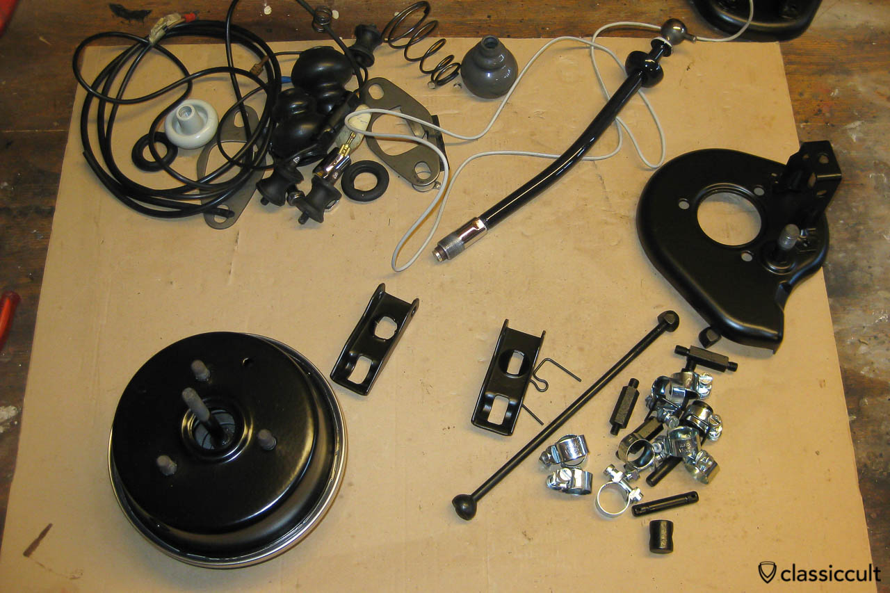 VW Saxomat servomotor, bracket, mounting screw and shifter after restoration
