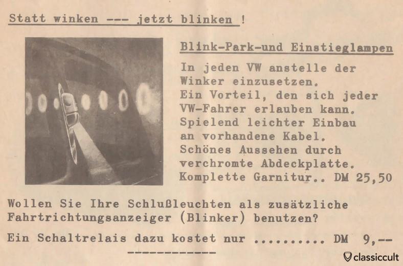 Statt winken - jetzt blinken. Instead of waving semaphores - now flashing turn-signals on VW Oval Bug, source: Volkswagen accessories brochure 1957