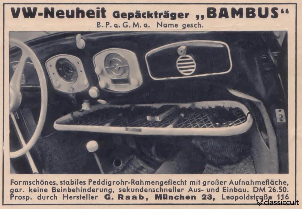 VW Split RA-BAMBUS parcel tray