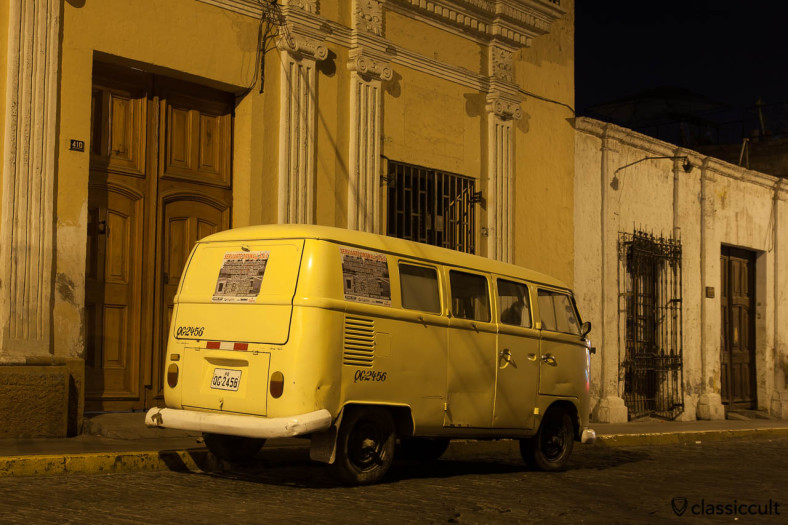 VW T1 Ambulance Split Bus backside Arequipa, Peru, May 10, 2013. This Ambulance VW Bus was made in Germany and it has the still the rear hatch without a window and frosted glass on the side windows.