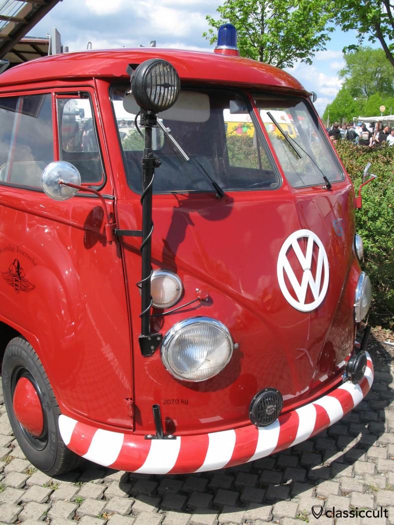 Vintage working headlights on VW T1 Fire Department ladder truck.