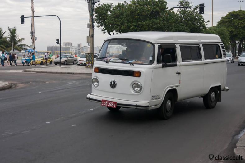 VW T2c Bus in brazilian white, Copacabana, Rio de Janeiro, Brazil, May 23, 2013