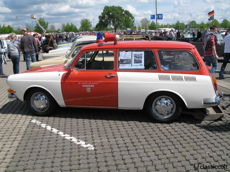 VW Type 3 Fire Department Wuerzburg Germany operational vehicle with speaker and blue emergency light on the roof. WOW!