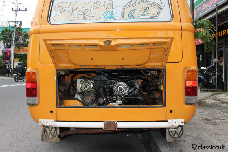 VW T2a motor view, Jogja, Java, Indonesia, February 9, 2014