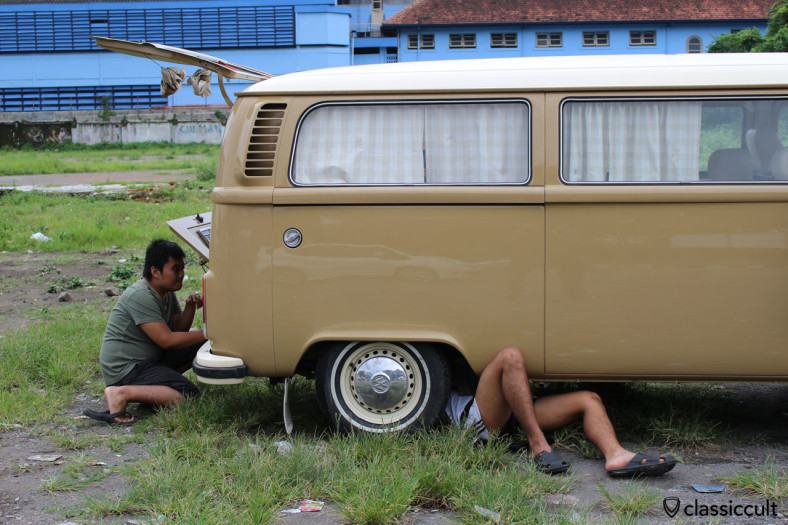 VW Kombi Bus with a breakdown in Yogyakarta, Indonesia, February 9, 2014