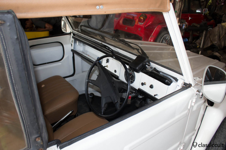white VW 181 civil with soft top