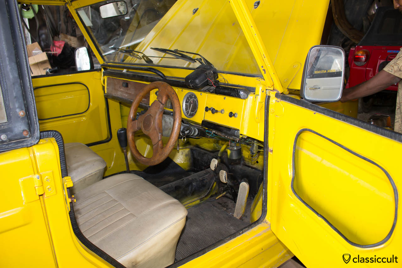 yellow VW 181 civil with soft top