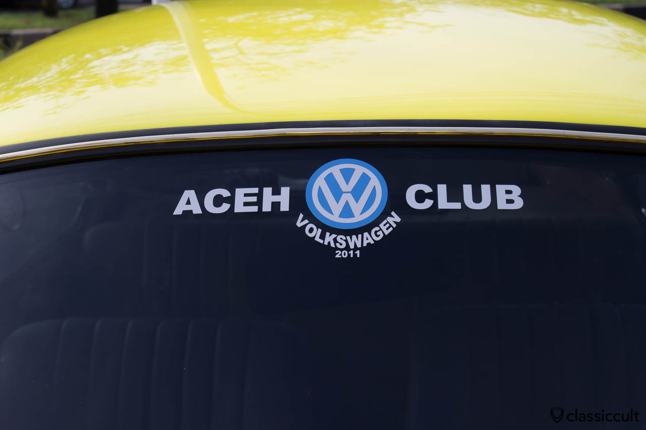 yellow VW Beetle 1303 Banda Aceh Indonesia, ACEH VW Club Sticker