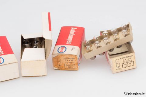10x Esso Dashboard Bulbs 6V 4W NOS