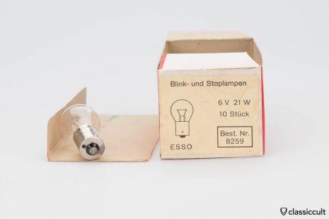 10x Esso Indicator Brake Light 6V 21W Bulbs NOS
