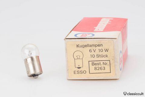 10x Esso Kugellampen Bulbs 6V 10W NOS