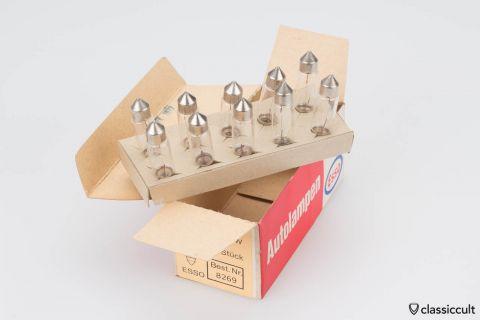 10x Esso Soffitten Bulbs 6V 10W NOS