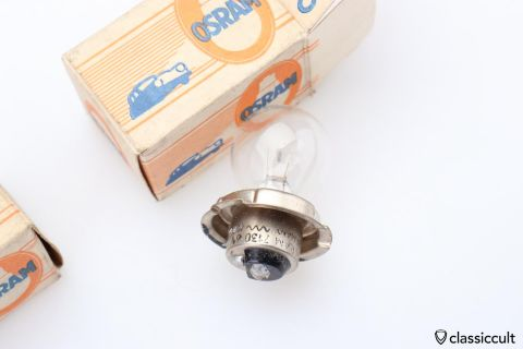 6V 15W P26s Osram bulb made Germany NOS