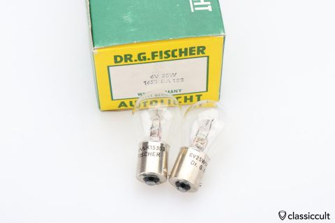 6V 25W BA15s bulb Fischer Germany NOS