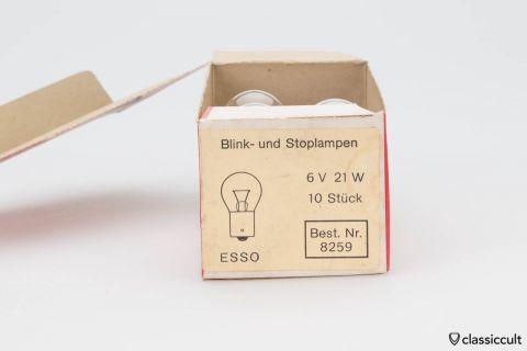 7x Esso Indicator Brake Light 6V 21W Bulbs NOS