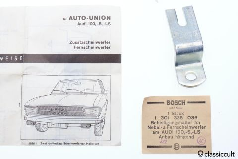 Audi 100 S LS Bosch fog light bracket 1969 NOS