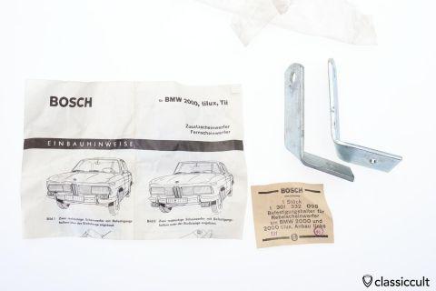BMW 2000 Tilux Tii Bosch foglight brackets NOS