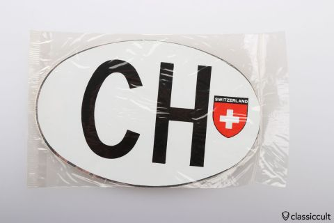 CH Switzerland Country Plate Sticker NOS