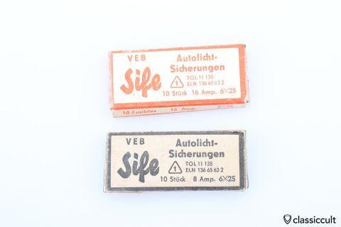 DDR VEB Sife fuse 8/16 AMP 6x25 NOS