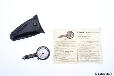 Draeger Tyre Pressure Gauge with instructions