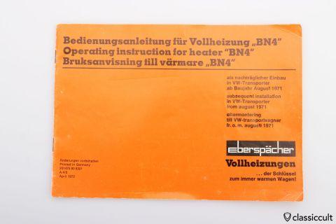 Eberspaecher BN4 VW T2 1971 instructions