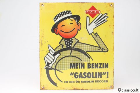 Vintage Gasolin Wall Sign 60ies Germany