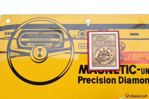 GHE VW Beetle badge Fahr mit Glueck NOS