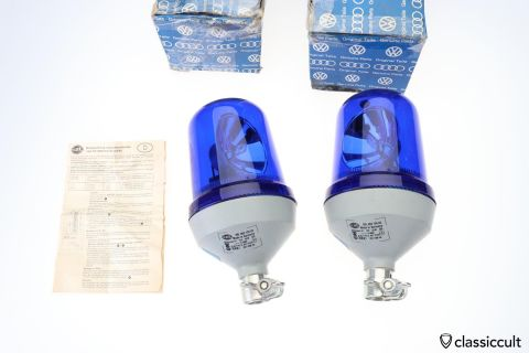 2x Hella KL 60 beacon lights 2RL 003 134-02 VW NOS
