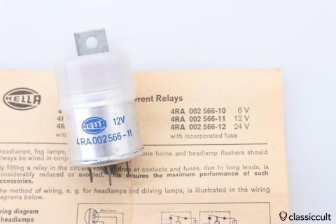 12V Hella fog light headlamp relay NOS